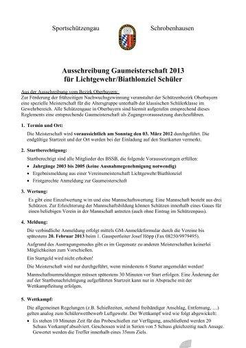 Ausschreibung Lichtgewehr - Sportschützengau Schrobenhausen