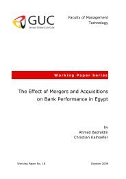 The Effect of Mergers and Acquisitions on Bank Performance in Egypt