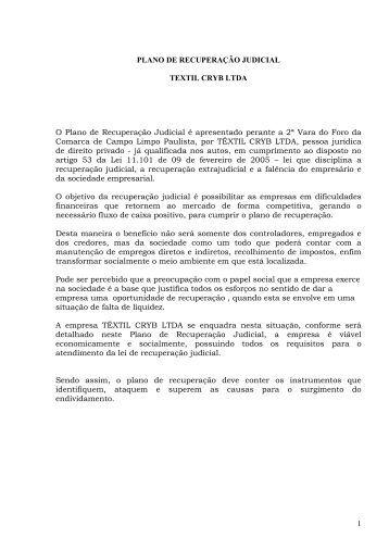 1 PLANO DE RECUPERAÇÃO JUDICIAL TEXTIL ... - Rmilani.com.br
