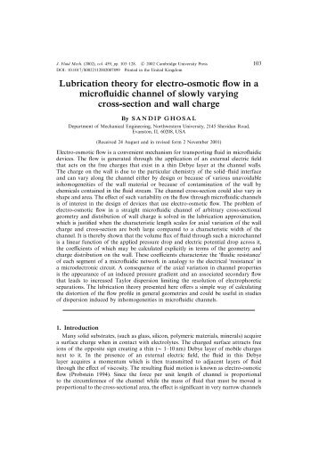 Lubrication theory for electroosmotic flow in a microfluidic channel of ...