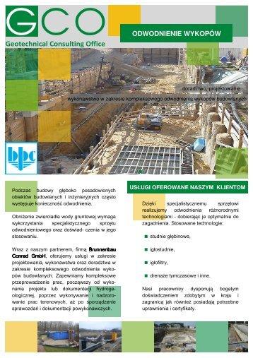ODWODNIENIE WYKOPÓW - Geotechnical Consulting Office Sp. z oo