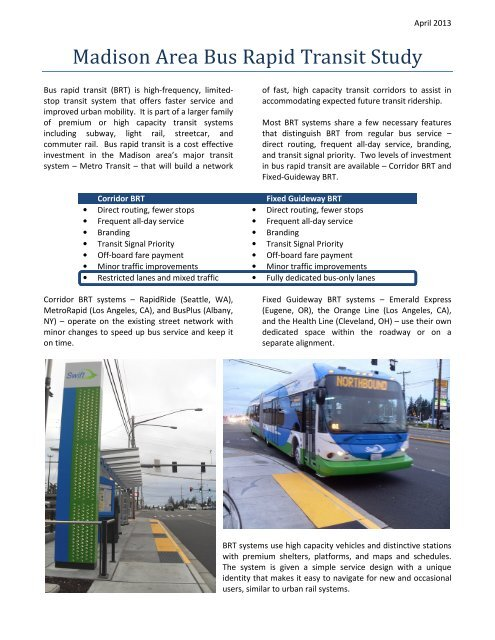 Madison Area BRT two-page Summary