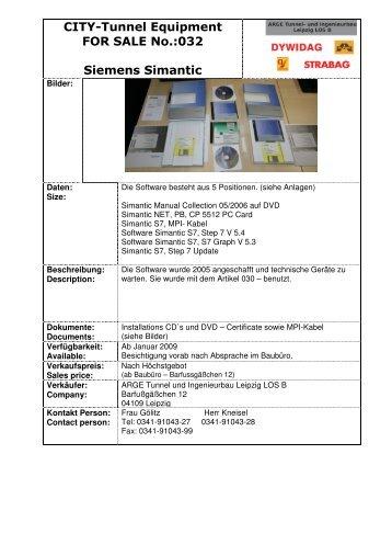 032 Siemens Simatic S7 Step 7 V4.5, S7 Graf V5.3 - ARGE City ...