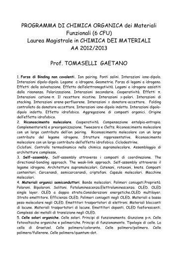PROGRAMMA DI CHIMICA ORGANICA dei Materiali Funzionali (6 ...