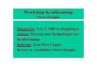 Workshop Krafttraining - Swiss Olympic