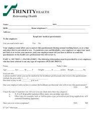 OSHA respirator questionnaire - Trinity Health