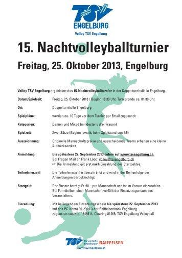 15. Nachtvolleyballturnier Freitag, 25. Oktober ... - TSV Engelburg