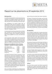 Rapport sur les placements au 30 septembre 2013