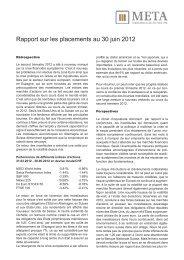 Rapport sur les placements au 30 juin 2012