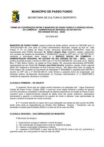 convênio de colaboração entre o município de passo fundo eo ...