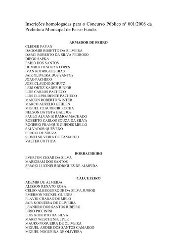 Edital nº 017/2008 – Inscrições Homologadas - Prefeitura Municipal ...
