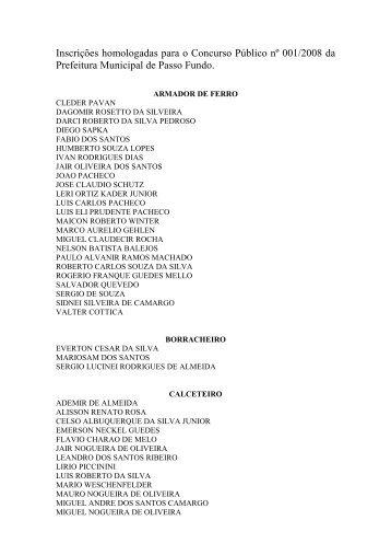 Inscrições Homologadas (retificação) - Prefeitura Municipal de ...