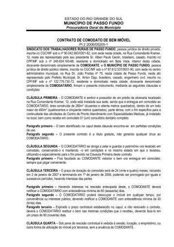 CONTRATO DE COMODATO DE BEM IMÓVEL - Prefeitura ...