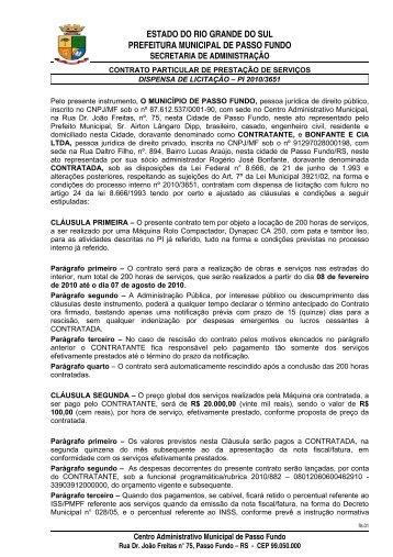 contrato particular de prestação de serviços - Prefeitura Municipal ...