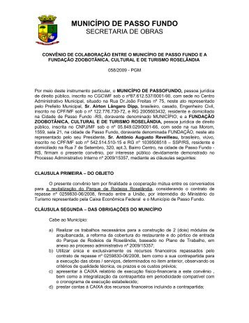 convênio de colaboração entre o município de passo fundo ea ...