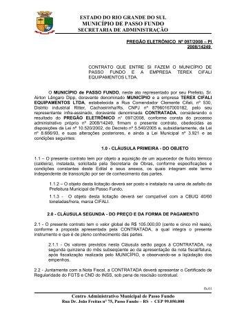 CONVITE Nº 004/2007 - Prefeitura Municipal de Passo Fundo