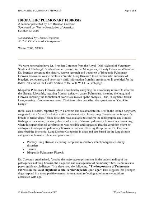 IDIOPATHIC PULMONARY FIBROSIS - Westie Foundation of America