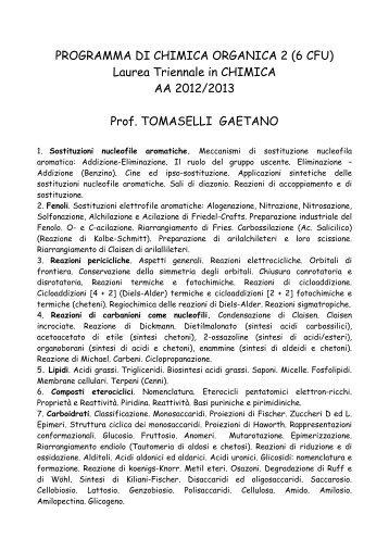 PROGRAMMA DI CHIMICA ORGANICA 2 (6 CFU) Laurea Triennale ...