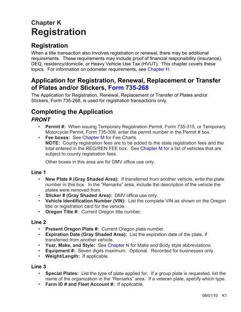 Chapter K: Registration - Oregon Dealers
