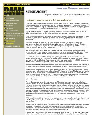 Article - Heritage response soars in 1:1 Lab mailing test (PDF, 101 KB)