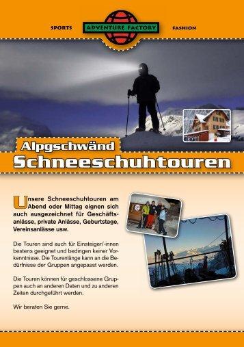 Alpgschwänd-Flyer für die Wintersaison 2013/14 - Adventure Factory