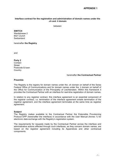 Partner Agreement Appendix 1 Interface Contract Ch Domain
