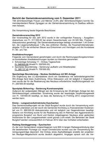 Bericht der Gemeindeversammlung vom 5. Dezember 2011