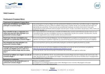 FAQ Regio - AEF Europe