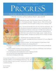 Monthly Progress - First Lutheran Church