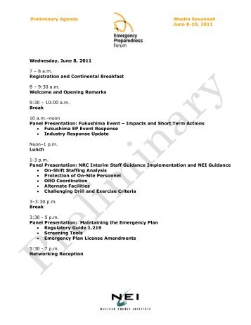 Westin Savannah June 8-10, 2011 Preliminary Agenda Wednesday ...