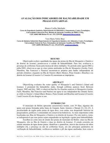 avaliação dos indicadores de balneabilidade em praias estuarinas