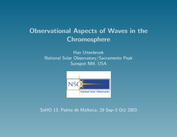 Observational Aspects of Waves in the Chromosphere - NSO
