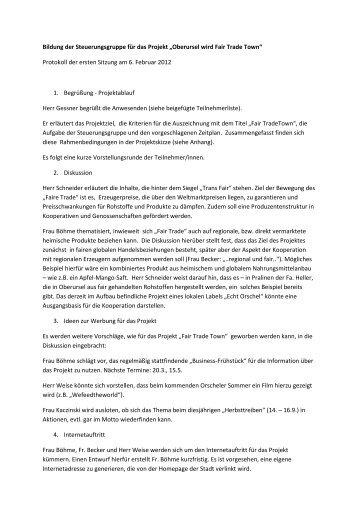 Protokoll der Sitzung der Steuerungsgruppe – 06. Februar 2012