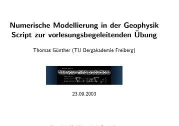 Numerische Modellierung in der Geophysik Script zur ... - resistivity.net
