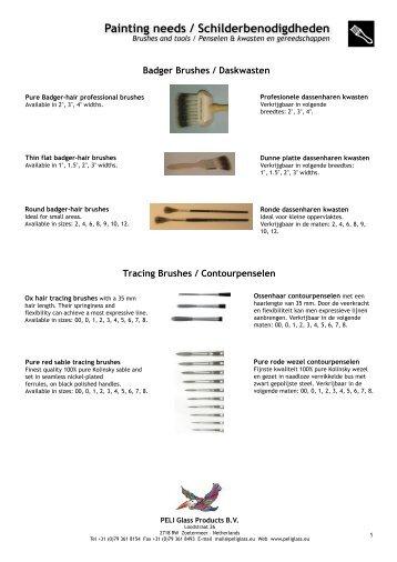 Painting needs / Schilderbenodigdheden - PELI Glass Products BV