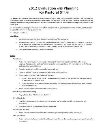 Pastor Evaluation Form. 33 Policy And Procedure Manual Church ...