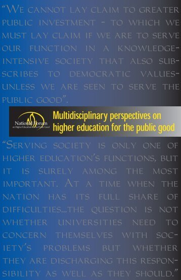 """Serving society is only one of higher education's functions, but ..."