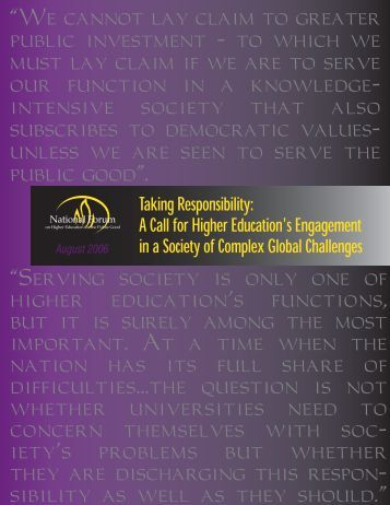Taking Responsibility: A Call for Higher Education's Engagement ...