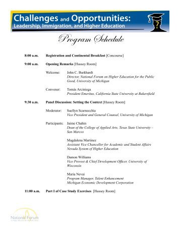 Program Schedule - The National Forum on Higher Education for the ...