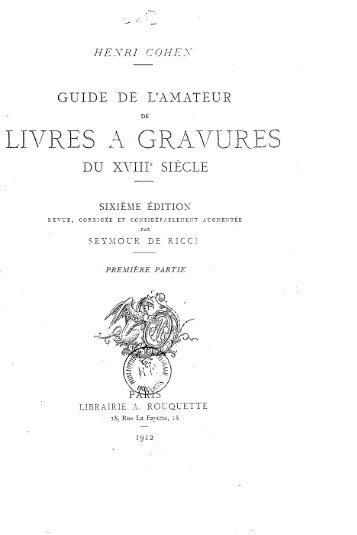 HENRI COHEN GUIDE DE L'AMATEUR DE LIVRES A GRAVURES ...