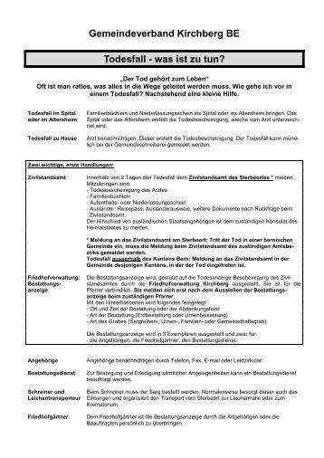 Gemeindeverband Kirchberg BE Todesfall - was ist zu tun?