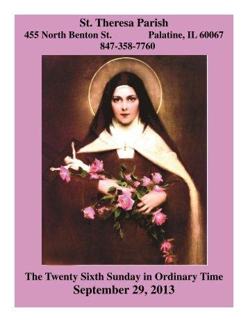 SEPT 29 - St. Theresa Parish
