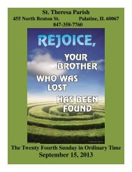 SEPT 15 - St. Theresa Parish