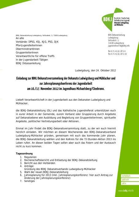 Einladung BDKJ Dekanatsversammlung 2012 - Katholisches ...