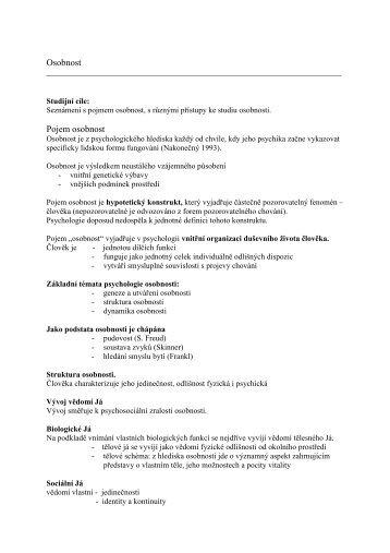 Osobnost - doc Hatlova - Pf UJEP
