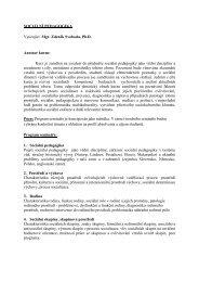 Sociální pedagogika s klinickou praxí - Pf UJEP
