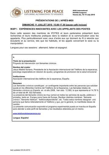 PRÉSENTATIONS DE L'APRÈS-MIDI DIMANCHE 11 JUILLET 2010 ...