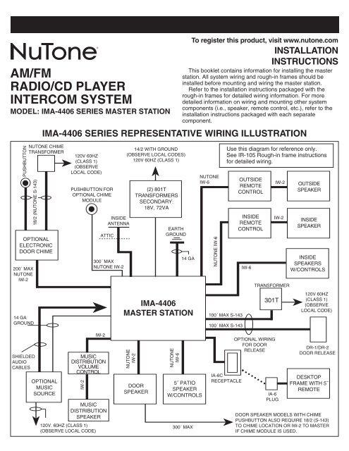 am/fm radio/cd player intercom system  nutone