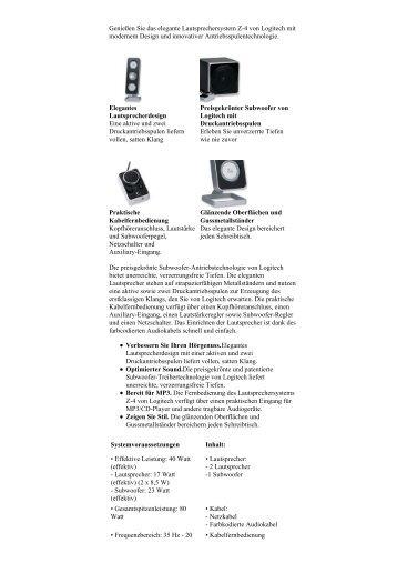 Logitech Produkte > Lautsprecher > Stereo > Logitech® Z-4 - DiTech