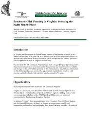 Freshwater Fish Farming in Virginia: Selecting the ... - Virginia Tech